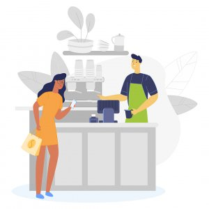 People paying in multi-site quick service restaurant