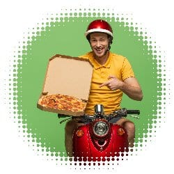 Picture of fast food delivery man on moped.