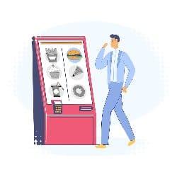 cartoon man walking towards self service kiosk in fast food industry