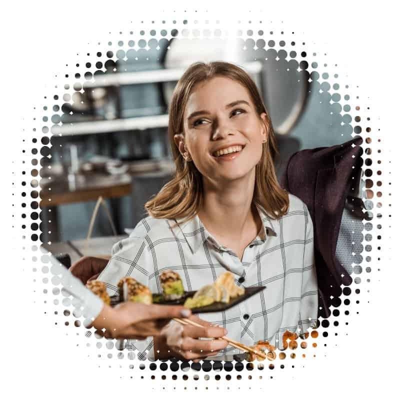 New Customer Eating Food